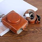 レザーバッグ キヤノンのPowerShot G7Xマーク2 G7XIIデジタルカメラ用G7XII PUレザーカメラ保護袋、ストラップ付き(ブラック/コーヒー/ブラウン) (Color : Brown)
