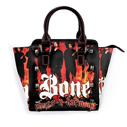 Bone Thugs-N-Harmony Women's Pu Leather Rivet Tote Shoulder Bag Crossbody Bags Handbags Purse with Adjustable Strap