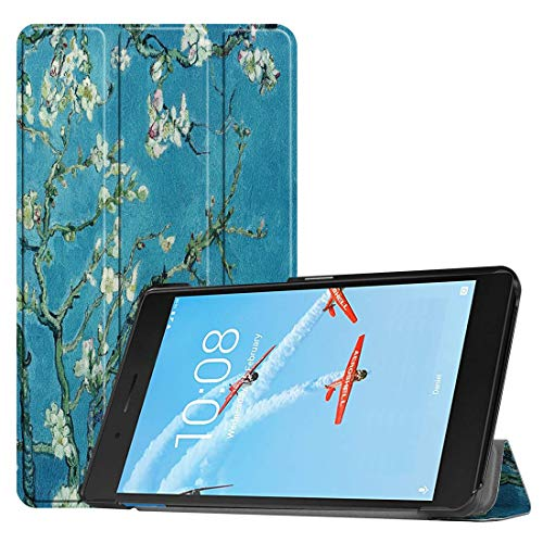 MmanuuFfacturer Horizontal Flip Apricot Flower Pattern Colored Painted PU Leather Case For Lenovo E7 / TB-7104F, With Three-folding Holder (PATTERN : Apricot Flower)