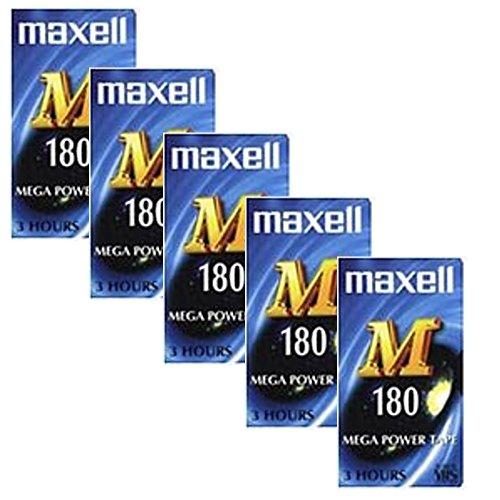 Maxell, videocassette vuote M 180VHS, confezione da 5 pezzi