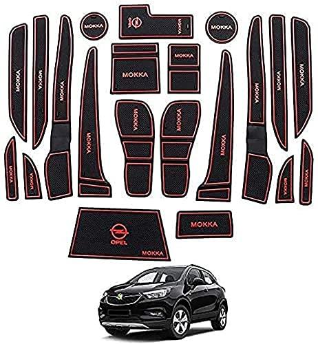 Alfombras para Consola Central Portavasos para Opel Mokka X 2017~2020, alfombrilla de almacenamiento Alfombrillas Antideslizantes de Goma Coche accesorios de interior