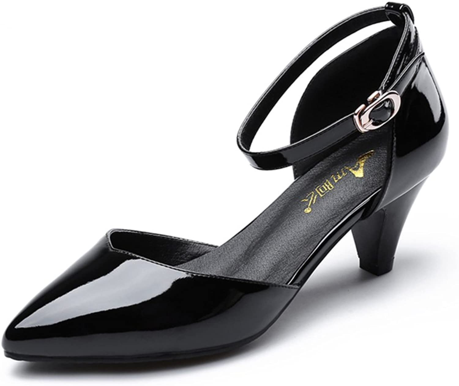 A buckle high heels Pointed shallow mouth patent leather sandals hollow Baotou