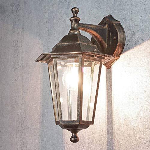 Rustikale Wand Außenleuchte PARIS Kupfer Antik E27 IP44 Alu Glas Wandlampe Außen Hof Garten Terrasse
