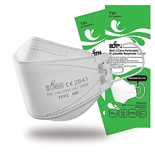 BOTN 10枚 ホワイト大きめサイズ KF94 保護安全フェイスマスク 大人用 4層フィルター 3Dデザイン 調整可能なストラップ 韓国製 (White, Large)