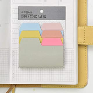 1 Pack of 90pcs Useful 6-Color Index Note Papers Cute Sticky Notes Card Stickers for Bookmark Stationery