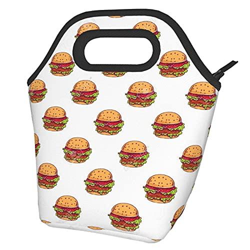 Bolsa de almuerzo de hamburguesas Bolsa de almuerzo aislada impermeable con cremallera para trabajo escolar al aire libre
