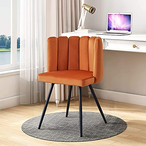 TUKAILAI 1pcs Unique Velvet Dining Chair Thick Padded Upholstered Seat with Black Metal Legs for Dining Room Accent Chair for Bedroom Modern Leisure Armchair Tub Chair for Living Room Orange