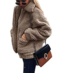Fuaxfurjacketwomans:Zipper closure.Easy to put on and take off. Fuzzyjacketsforwomen's feature: Solid Color,Long Sleeve,Lapel,Two Side Pockets, Boyfriend Style, Double-Side Faux Fur, Elastic Cuff and Hem,Fluffy,Baggy,Loose fit,Full Zip,Oversize...