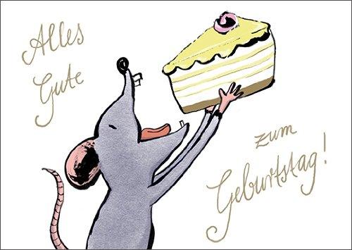Al het goede verjaardag wenst deze hongerige muis met taart • ook voor het direct verzenden met uw persoonlijke tekst als inlegger. • Elegante verjaardagskaart met envelop voor vrienden en familie