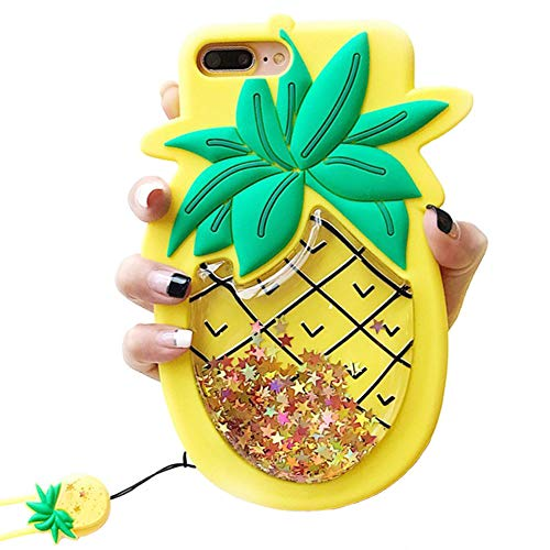Unique iPhone 7 Plus Case, iPhone 8 Plus Case, Cute 3D Creative Soft Feeling Silicone Phone Case Cover for Apple iPhone 7 Plus Liquid Pineapple