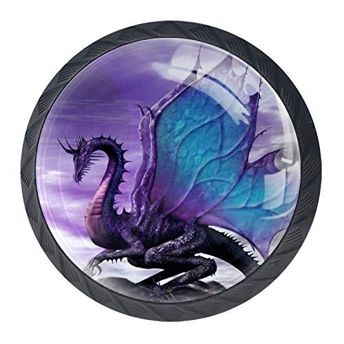 Cabinet Knobs Flying Dragon Purple Drawer Pulls Aesthetic Bookcase knobs for Home décor (4pcs) 1.38x1.10in