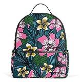 Mochila escolar de lona con diseño floral de polinesia, de gran capacidad, para niños, niñas,...