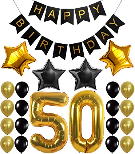 50th BIRTHDAY DECORATIONS BALLOON BANNER - Happy Birthday Black Banner, 50th Gold Number Balloons,Gold and Black, Number 50, Perfect 50 Years Old Party Supplies,Free Bday Printable Checklist
