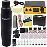 Tattoo Pen Kit - Yuelong Rotary Tattoo Pen Machine Kit Tattoo Pen Power Supply 20 Cartridges Needles Foot Pedal Clip Cord Power Cable Practice Skin Ink Caps Grips Tape Pigment Tattoo Case