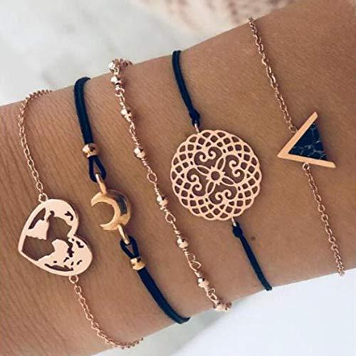 Handcess Boho negro turquesa triángulo pulseras oro Luna accesorios mano tejer corazón mapa pulsera conjuntos cuentas cadena mano para mujeres y niñas (paquete de 5)