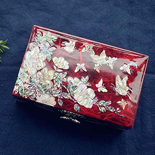 SONGYU Caja de joyería Caja de Almacenamiento de joyería de Mano de Madera, Collar Organizador de joyería con candado Soporte de joyería para Pendientes Pulseras Anillos (Color: Rojo)
