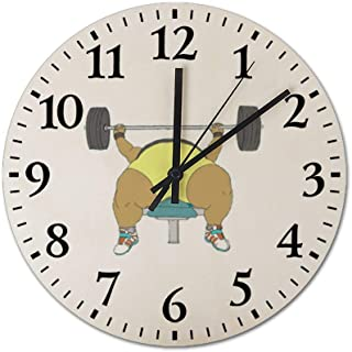 Chubby-Powerlifter-Sexy-Beast Wooden Frameless Silent 12 inch Wall Clock, Suitable for Living Room Guest Room Villa