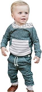 H.eternalTM Baby Jungen Mädchen Langarm Streifen Kapuzenpullover Tops Hosen Outfits Kinder Kleidung Anzug
