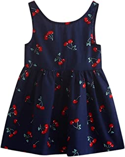 Moika Baby Girl Princess Dresses, (2-7 years) Toddler Girls Summer Princess Dress Cherry Print Kids Baby Party Wedding Sleeveless Dress