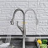 Robinet de lavabo Robinet Machine à laverNoir/brossé robinet de cuisine robinet de mélange chaud et froid pour le printemps cuisine mitigeur à tirette grue 2 fonctions bec