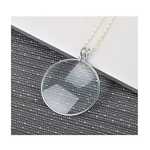 Legering ketting met vergrootglas, 5X, 42Mm glazen lenzen, 1.65in lange ketting voor lezen en sieraden waardering ZILVER