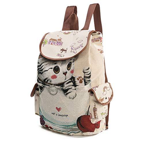 Mochila de lona para mujer, diseño de gato de dibujos animados, bolsa de escuela, bolsa de viaje