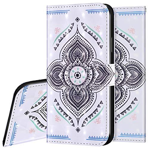 Surakey Etui Coque iPhone 6/6S Étui Housse en Cuir Portefeuille Coque Magnétique Flip Cover Fentes de Cartes Dessin Imprimé Pochette Coque Protection avec à Rabat Stand, Mandala
