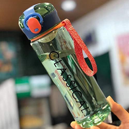 Xiaobing Children's Life Simple Bounce Cover portátil al Aire Libre Material de la PC Taza de Agua Taza de plástico -verde-500ml