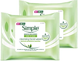 Simple Cleansing Facial Wipes, 25 pcs -(Pack of 2)