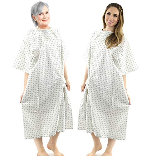 Hospital Gown (1 Pack) Cotton Blend, Useful, Fashionable Patient Gowns, Back Tie, 46' Long & 66' Wide, Fits All Sizes to 2XL Sizes Fit Comfortably - Hospital Gown (1 Pack)