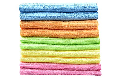 SINLAND 10 Pack Microfiber Cleaning Cloth 12 Inch x 12 Inch Multi-purpose Household Kitchen Strip Towels Valuable