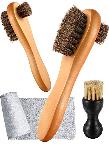 Youngjoy 6 Pieces Horsehair Shine Shoes Brush kit Polish Dauber Applicators Brown Size: 6.5 x 4.5 x 1.6 inches