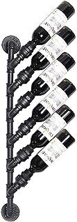 ZHTY Casier à vin Mural en métal Industriel Vintage Rustique Support de Stockage de Bouteille de vin 6 organisateurs de Bo...