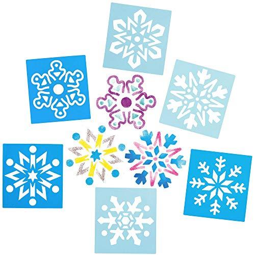 Baker Ross AX404 Schneeflockenschablonen - 8 Stück, Festliche Künstler- und Bastelbedarf zum Basteln und Dekorieren zur Weihnachtszeit
