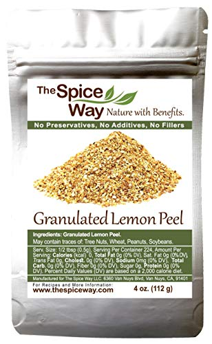 The Spice Way Lemon Peel – Granules ( 4 oz ) zest and rind without any preservatives. Great for cooking, baking and tea.