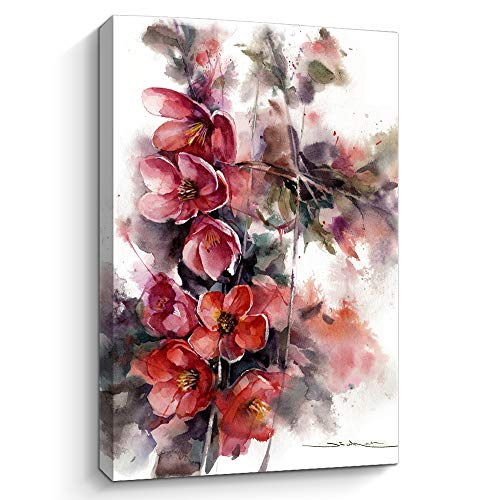 Flower Canvas Wall Art Picture: Watercolor Floral Artwork Painting on Canvas for Bedroom bathroom art floral canvas wall art bathroom wall pictures for living room (E,12' X 16')