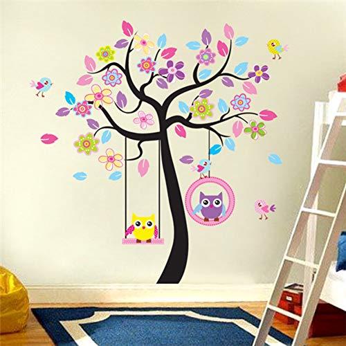 TYLOLMZ Roze boom-schommel-uilen-kinderkamer van huishoudversiering-wandstickers in de muurstickers op de muur