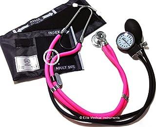 Elite Medical Instruments EBE-340-Pink Sprague Rappaport Stethoscope with Black Aneroid Sphygmomanometer Blood Pressure Cuff Set