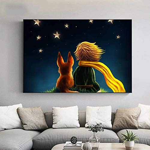 DIY Pintar por números Cuadro de pintura artística El Principito Pintura minimalista moderna nórdica pintar por numeros para adultos Con pincel y pintura acrílica pintura para50x70cm(Sin marco)