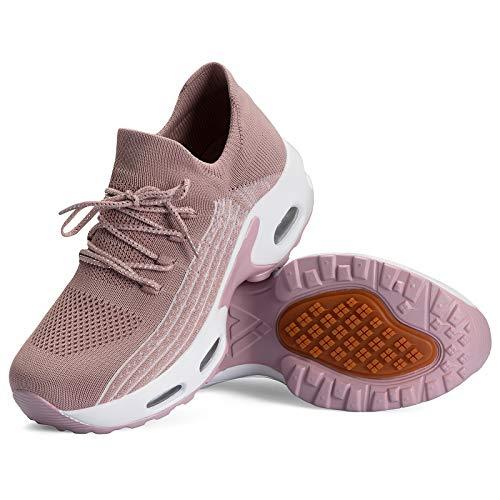 Mishansha Zapatos Deporte Mujer Running Zapatillas Mesh Transpirable Bambas Correr Gimnasio Casual Sneakers Rosa B N, Gr.38 EU