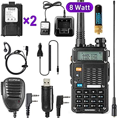 Ham Radio Walkie Talkie (UV-5R 8-Watt) UHF VHF Dual Band 2-Way Radio with 2 Rechargeable 2100mAh Battery Handheld Walkie Talkies Complete Set with Earpiece and Programming Cable by Fujian Baofeng Electronics Co.,Ltd.