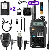 Ham Radio Walkie Talkie (UV-5R 8-Watt) UHF VHF Dual Band 2-Way Radio with 2 Rechargeable 2100mAh Battery Handheld Walkie Talkies Complete Set with Earpiece and Programming Cable
