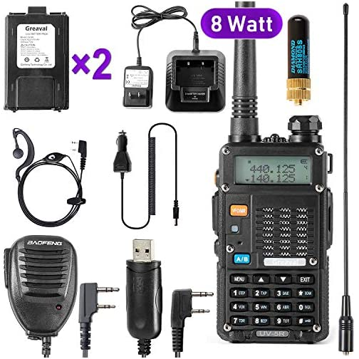Ham Radio Walkie Talkie (UV-5R 8-Watt) UHF VHF Dual Band 2-Way Radio with 2 Rechargeable 2100mAh Battery Handheld Walkie… 3
