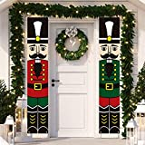 Dazonge Christmas Decorations Outdoor Indoor | Nutcracker Soldier Vertical Christmas Signs | Vintage Christmas Porch Door Banners | Farmhouse Winter Holiday Decor