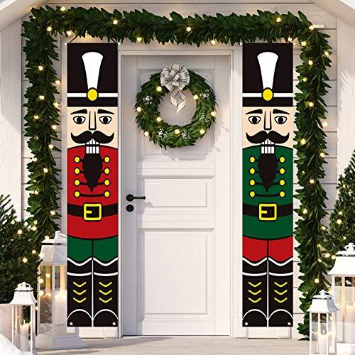 Dazonge decoraciones de Navidad para interiores y exteriores, letreros verticales de Navidad, diseño de soldado cascanueces | clásico Navidad Porche Pancartas | Decoración de día festivo de invierno