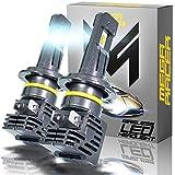 Mega Racer Wireless H7 LED Headlight Bulb - 50 Watt 6500K Daylight White 12000 LM ZES CSP Chip IP68 Waterproof Rating, 1 Pair