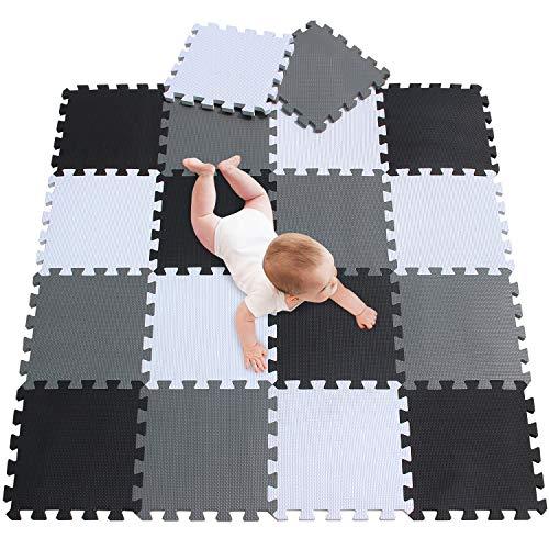 meiqicool Puzzlematte Spielmatte Spielteppich Schaumstoff Puzzle Kinderteppich Boden Puzzle kriechen Play Spiel Matte für Baby Kinder,Kleinkind sicher zu verwenden Schwarz-weiß-grau 18 PCS 010412