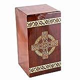 HIND HANDICRAFTS Urnas de cremación de palisandro para cenizas humanas adulto grande – urna de madera para columbarium – urna funeraria (250 pulgadas cúbicas, cruz celta – 1)