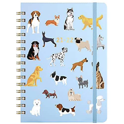 2021-2022 Planner - Weekly & Monthly Planner with Tabs, 6.5' x8.5', Jul 2021 - Jun 2022, Hardcover with Back Pocket + Thick Paper +Banded, Twin-Wire Binding - Cute Dogs