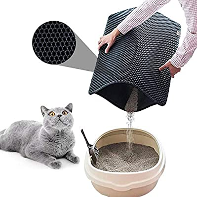 Qchomee Small Cat Litter Mat Catcher Cat Litter Trapping Mat Honeycomb Holes Design Cat Litter Box Tray Carpet Double Layer,Soft Lightweight EVA Material,Washable Easy to Clean(30x30cm,Black)